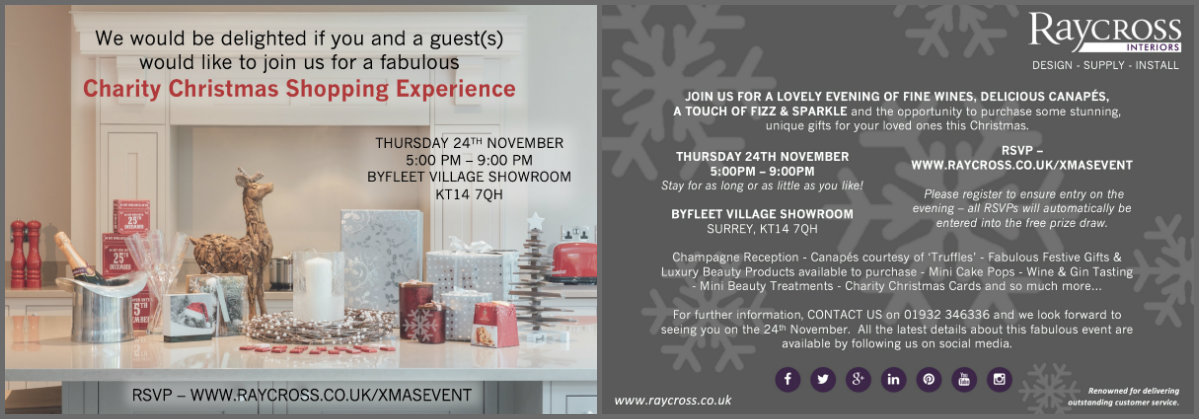Christmas Shopping Experience Invite Surrey