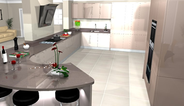 Curved Kitchen Virtual Design